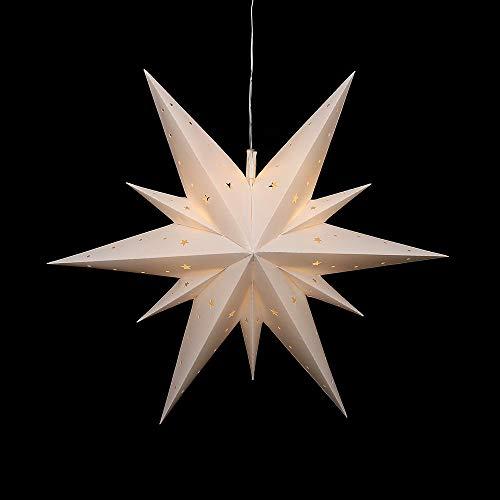 Sigro Falkensteiner 11 tips adventstjärna för inomhus- och utomhusbruk inklusive LED-belysning och adapter, 60 cm, vit, en storlek