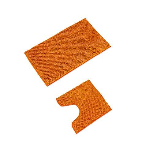 WohnDirect Alfombrilla de baño Conjunto - Alfombra baño Juego - Antideslizante - Lavable - Alfombra para el Cuarto de baño - Naranja - 50 x 80 cm + 45 x 45 cm con Recorte para el Inodoro