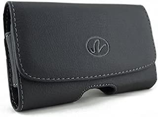 Black Horizontal Leather Phone Case with Belt Clip for Verizon HTC Desire 526 - Verizon HTC Droid DNA - Verizon LG G2 - Verizon Motorola Droid Turbo - Verizon Motorola Moto X (2nd Generation)