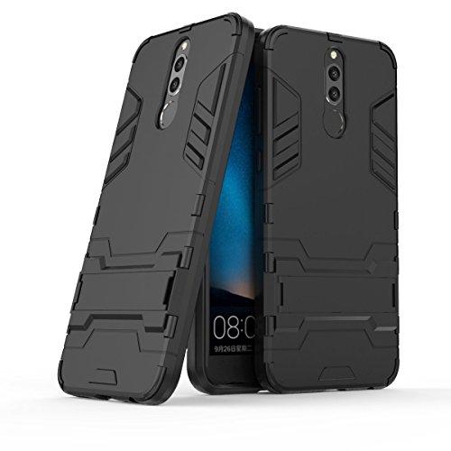 CHcase Mate 10 Lite Custodia, 2 in 1 Nuovo Armour Stile Resistente Hybrid Dual Layer Armatura Defender PC + TPU Custodie con Supporto [Custodia Antiurto] per Huawei Mate 10 Lite -Pure Black