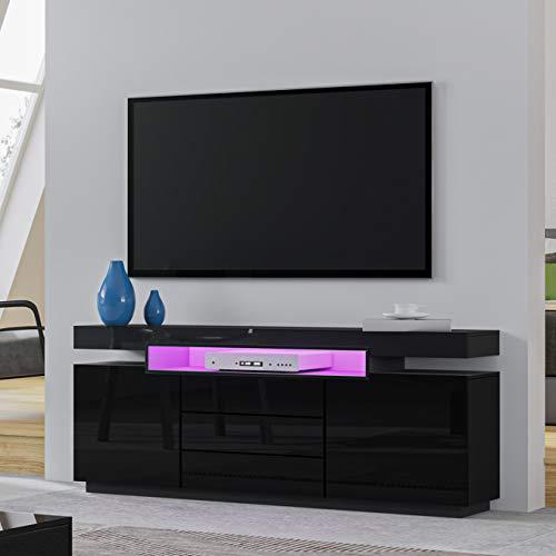 UNDRANDED TV Lowboard Board Hochglanz Front mit 2 Türen 3 Schubladen, TV Schrank Sideboard LED Beleuchtung 160 x 35 x 72cm in Schwarz