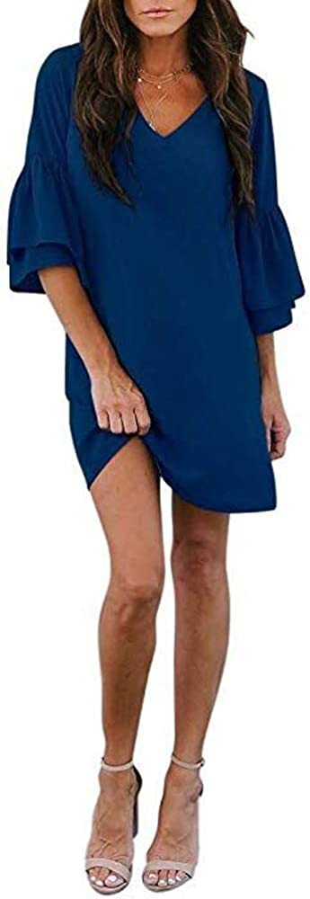 SVALIY Women's Chiffon V Neck Bell Sleeve Casual Loose Shift Party Mini Short Dresses