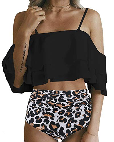 Tempt Me Women High Waisted Bikini Swimsuit Ruffled Off Shoulder Two Piece Bathing Suit Leopard Large