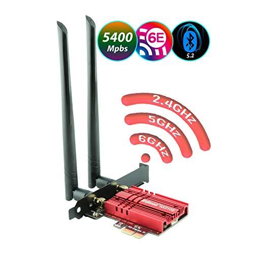 Ziyituod Carte WiFi 6E, jusqu'à 5400 Mbps avec Adaptateur Bluetooth 5.2, Carte réseau WiFi AX210 Double Bande (2.4G 600 Mbps/5G 2400 Mbps/6G 2400 Mbps) Carte PCI-E pour Les Jeux de Bureau/PC