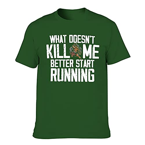 T-HGeschäft Camiseta elástica para hombre Viking was Mich nicht tötet, startet Besser mit dem Running Print, Retro Sport Shirt Dark Green001. XXXXL