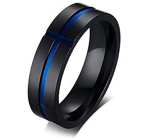 XUANPAI Zwei-Ton Edelstahl Nut Kreuz Jahrestag Hochzeit Versprochen Ring Geschenk Band Ring Für Männer, Größe 54-67