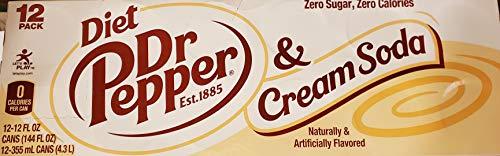 Dr. Pepper Diet & Cream Soda, 12fl oz can, 24 count