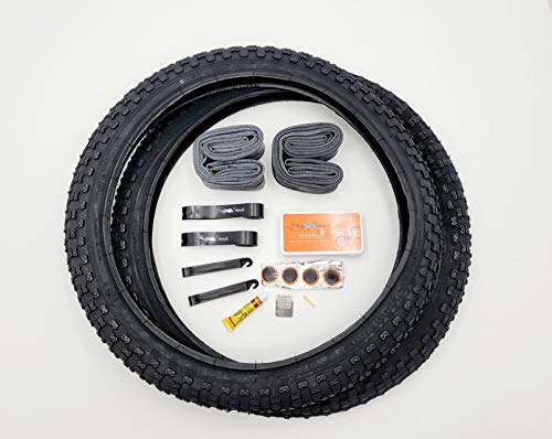 Holy Shinobi 20 inch BMX Tires, Durable Wire Bead Black Sidewall Blackwall 20 x 2.125 OEM Replacement Bike Tire Tube Rim Strip Lever Kit Bundle, Repair Kit on The Go