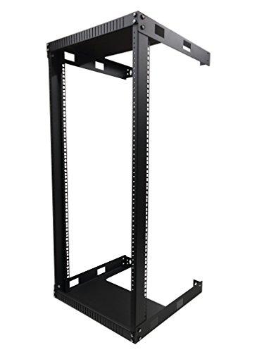 KENUCO Black 22U Wall Mount Open Frame Steel Network Equipment Rack 17.75 Inch Deep - W19'' x D17.75'' x H42'' - Black - 22U