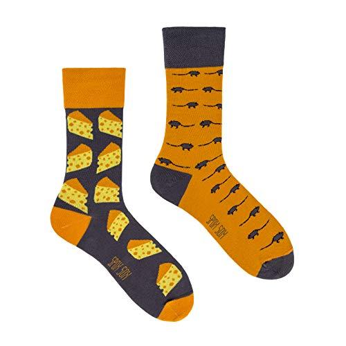 Spox Sox Casual Unisex - mehrfarbige, bunte Socken für Individualisten, Gr. 40-43, Maus und Käse