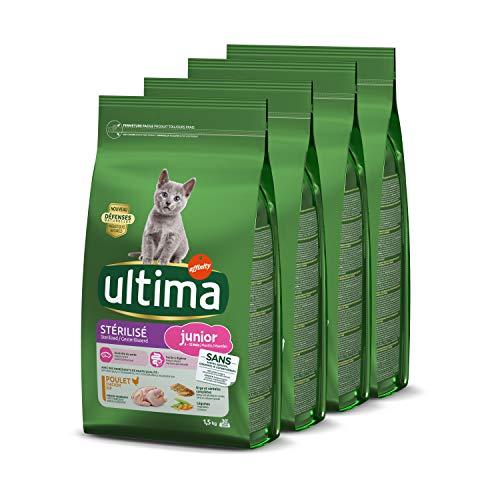 Ultima Croquettes Stérilisés Junior au Poulet pour Chat: Pack 4 x 1,5kg - Total 6 kg