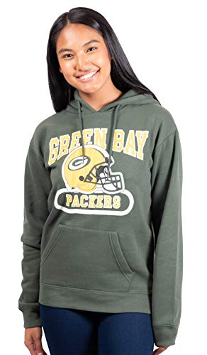 Ultra Game NFL Green Bay Packers Womens Fleece Hoodie Sweatshirt, Team Color, Medium