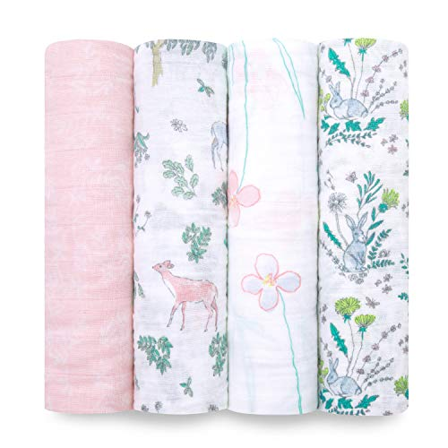 aden + anais Swaddle Blanket, Boutique Muslin Blankets for Girls & Boys, Baby Receiving Swaddles, Ideal Newborn & Infant Swaddling Set, 4 Pack, Forest...