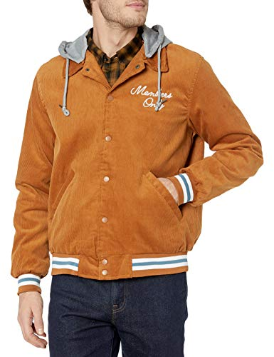 Members Only Men's Corduroy Varsity Jacket with Removable Hood, Wheat, L