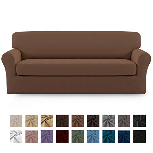Easy-Going 2 Pieces Microfiber Stretch Sofa Slipcover – Spandex Soft Fitted Sofa Couch Cover, Washable Furniture Protector with Elastic Bottom for Kids,Pet (Sofa, Brown)