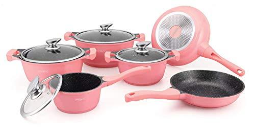 Royalty Line - Batería de cocina para todo tipo de fuegos, color rosa