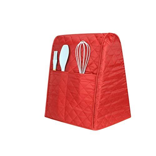 Staubdichte Abdeckung für Standmixer, mit Organizer-Taschen, Schutzabdeckung für Mischpult, passend für alle Kippkopf- und Schalenhebemodelle (rot)