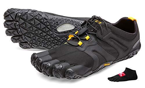 Vibram FiveFingers V-Trail 2.0 Men + Zehensocke, Color:Black/Yellow, Size:44