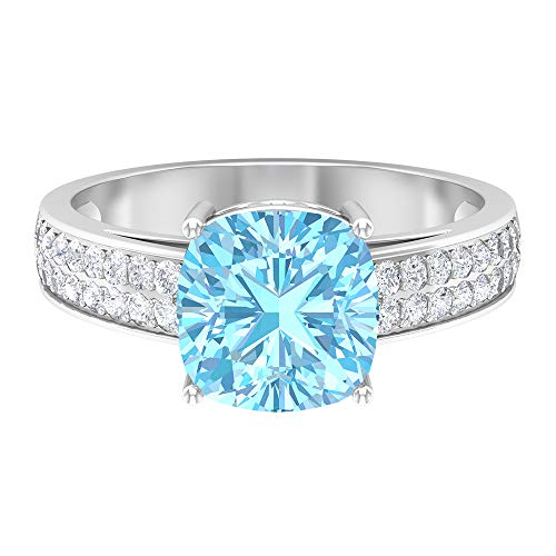 2.75 CT Engagement Ring with Cushion Cut Aquamarine Solitaire and Moissanite Accents (AAA Quality), 14K White Gold, Size:UK W
