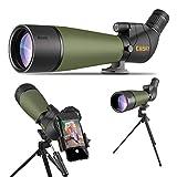 Gosky 2019三脚、キャリングバッグ、スマートフォンアダプター付き20-60x80スポッティングスコープ - BAK4アングル望遠鏡 - ターゲット用の最新の防水スコープ射撃鳥野生生物の風景を見て