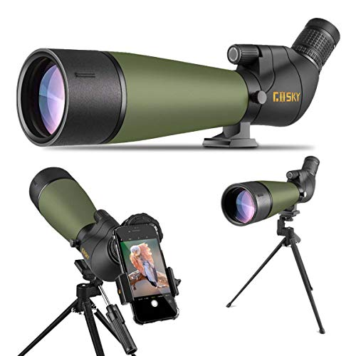 Gosky 2020 Updated 20-60x80 Spotting Scope with Tripod and Carrying Bag and Smartphone Adapter - BAK4 Angled Telescope -...
