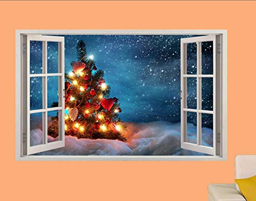 Wandtattoo Christmas tree lights snow 3D window wall stickers room decoration decal mural