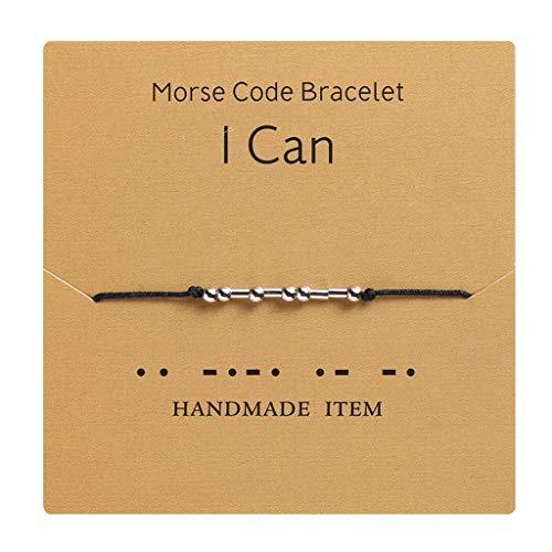 Rongzou I Love You Morse Code - Pulsera de cuentas con mensaje secreto