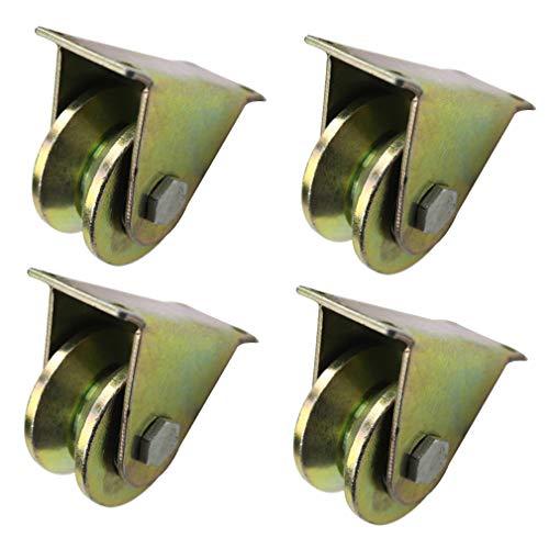 4 V-Nut Stahl-Lenkrolle,Starre Schwerlastrollen,V-Förmige Schiene Rollen,Runde Röhre Richtung-Rad,Doppellager,für Industriemaschinen, Schiebetüren,Rolltore,Drahtseilschienen (32mm/1.25in)