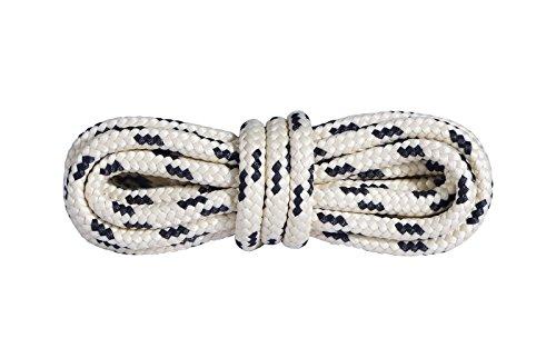 Mountval Schnürsenkel Hochwertige Schnürbänder für Outdoor- und Wanderschuhe | Extrem stark | 1 Paar (120 cm - 48 inch - 6 bis 7 Schnürösenpaare/ 1091 - Beige mit Schwarz)