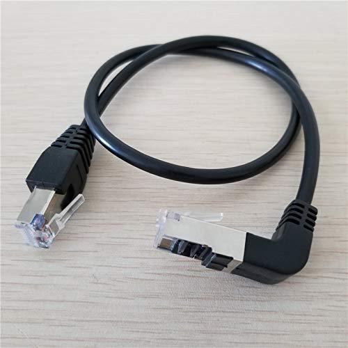 Conectores de 90 grados ángulo RJ45 CAT5e macho a macho M/M extensión LAN Ethernet Cable 50 cm - (Longitud del cable: 50 cm, Color: Negro)