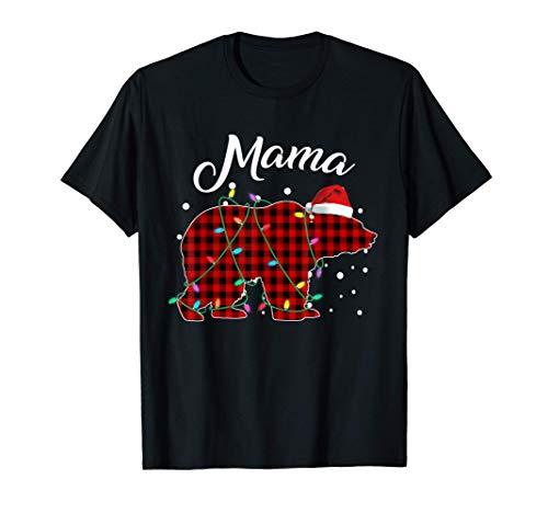 Red Plaid Mama Bear Matching Buffalo Pajama T-Shirt T-Shirt