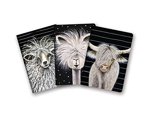 Notizbuch Trio von Studio Oh! – 3er-Set – Rachel Brown Bauernhoftiere – 14,6 cm × 21 cm – 3 aufeinander abgestimmte Karton-Designs – 80 linierte Seiten – für Schule, Arbeit und Zuhause