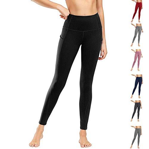 Damen Leggings Yogahosen Sporthose Tights Laufhose High Waist mit Taschen Dehnbar Jogginghose Yoga Sport Fitness Laufen(ck.schwarz,l)