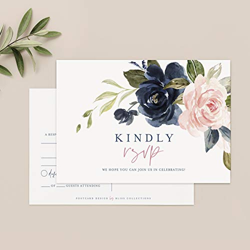 Bliss Collections RSVP Postcards for Wedding, Navy Floral Response Cards, Reply Cards Perfect for Bridal Shower, Rehearsal Dinner, Engagement Party, Baby Shower or Any Special Occasion, 50 Pack