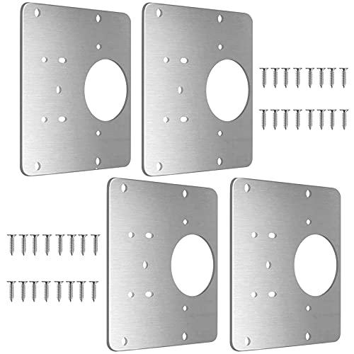 Placa de Reparación de Bisagras de Gabinete con Orificio,Kit de Reparación de Bisagras para Puertas de Cocina,Placa de Acero Inoxidable Accesorio de Reparación para Muebles (4 PCS)