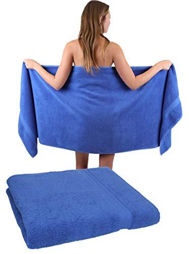 Betz 2 Stück Premium Saunatücher Saunatuch Saunahandtuch Set 100% Baumwolle Frottier XXL Badetuch Strandtuch Größe 70 x 200 cm Farbe Royalblau