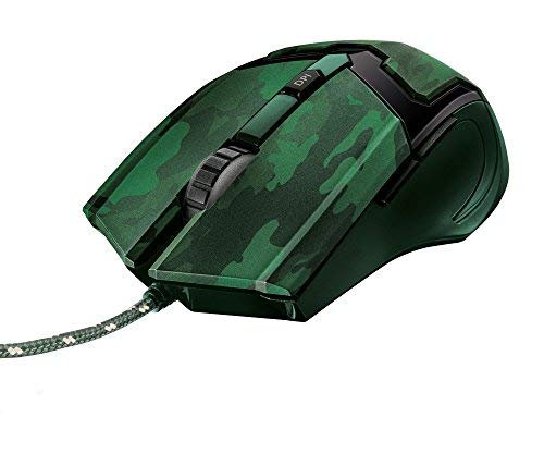Trust Gaming GXT 101C - Ratón Gaming (600-4800 PPP, 6 Botones) Color Verde (Jungle Camo)