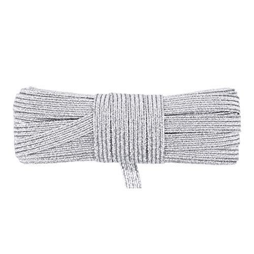 DIY PARK 5 Yard 1/4' 6mm Flat Skinny Elastic Cord Latex Rubber Band Spandex Rope Face Cover Ear Loop Dress DIY Sewing Trim (Silver Glitter)