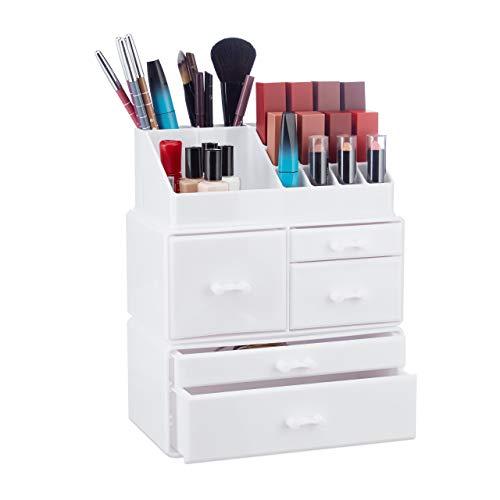 Relaxdays Make Up Organizer mit 21 Fächern, Kosmetik Tower für Lippenstift, Nagellack, Schminke, Acryl Make Up Box, weiß