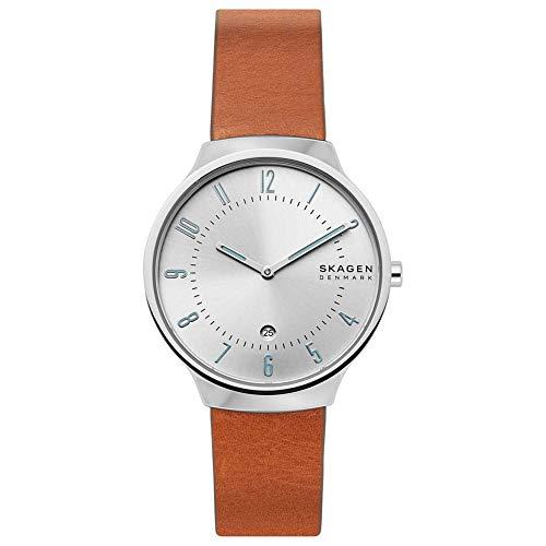 Skagen Herren Analog Quarz Uhr mit Leder Armband SKW6522