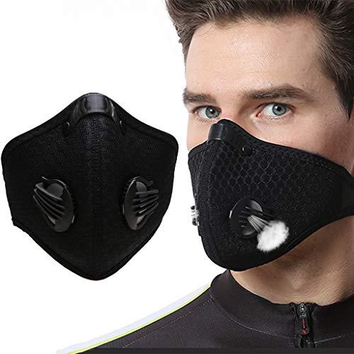 Jiaxingo Staubmaske Schutz Maske Atemmaske Anti Verschmutzung Maske PM 2,5 Pollen Staub Maske Mehrweg Mundschutz Maske für Radfahren Reiten Staubdicht Maske Outdoor-Aktivitäten, Schwarz