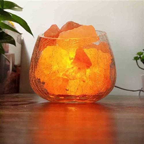 JIAWEI Salina LED-tafellamp voor het reinigen van de binnenlucht, dimbaar, kristal, zout, helder glas, lampenkap, warm licht - 5 W