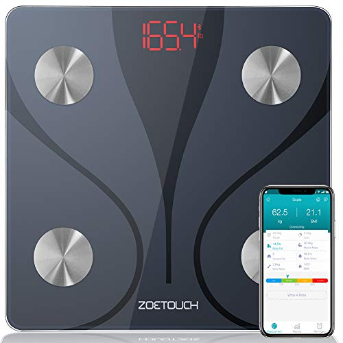 ZOETOUCH Body Fat Scale with iOS and Android App Smart BMI Scale Digital Wireless Bathroom Weight Scale Body Composition Monitor Analyzer  Black
