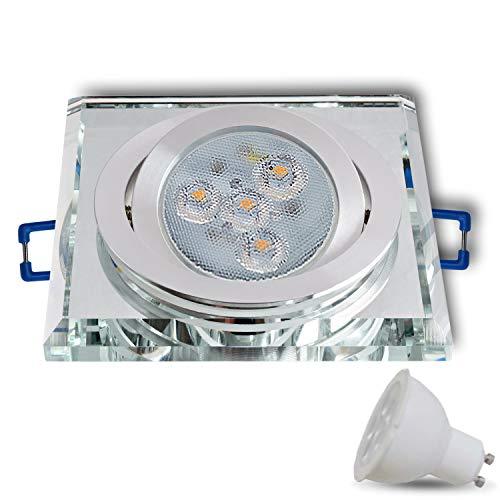 LED inbouwspot van glas/spiegel/helder dimbaar CRISTAL-S hoekig draaibaar incl. X 6W LED warmwit 230 V IP20 LED plafondspot plafondinbouwspot inbouwlamp plafondspot