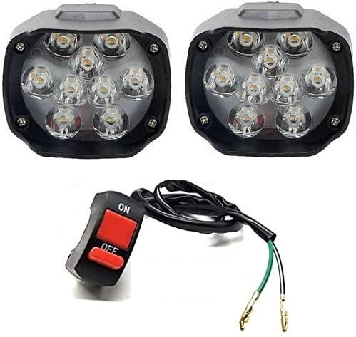 Eltron Turbo 9 LED Fog Light/Fog Lamp Waterproof, Bar Light Universal Bike, Car Fog Light, Work Lamp for Off Roading Set of 2 Led + 1 On/Off Switch (12V DC 9 Led Fog Light), White light