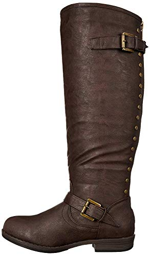 Journee Collection Women's Durango-wc Riding Boot, Brown Wide Calf, 10 M US