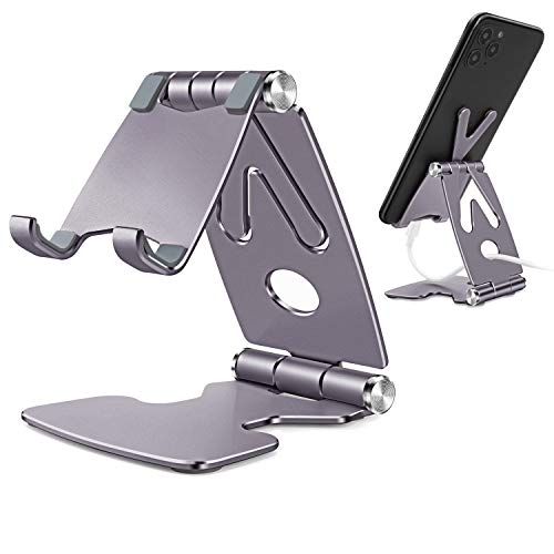 TECOOL Soporte Movil Mesa, Plegable Soporte Teléfono Móvil Escritorio Aluminio Ajustable para iPhone 12 Mini 11 Pro XR Se XS MAX Samsung, Huawei, Otras Android Tabletas/Móviles de 4'-8' - (Plata)