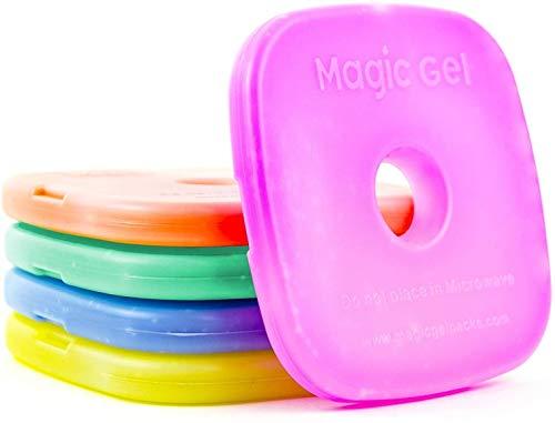 Magic Gel Kühlakkus für Kinder (5 Stück) - Wiederverwendbare Kühlakkus für Kühltasche - Große und Flache Kühlakkus für Kühlbox