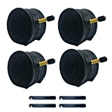 BWSHLF 26' Mountain Bike Inner Tubes (4 Pack), Durable Butyl Rubber MTB Bicycle Replacement with 4 Tire Levers Fit 26x1.75/2.3, 29x1.75/2.3 Schrader 35mm & Presta Valve 48mm