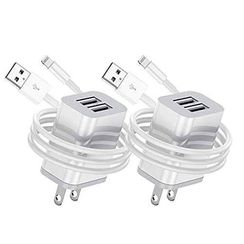 Apple MFi Certified iPhone Charger Cable with Wall Plug, 2Pack Dual Port Wall Charger Block Cube with iPhone Lightning to USB Fast Charging Cord 3ft for iPhone 11/XS Max/XR/X/8/8 Plus/7/6S/SE/5S/iPad